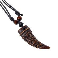 Винтажный волк кулон «Клык» ожерелье Серфер этнический Шарм Вощеная полоска цепочка Ожерелье для мужчин женщин амулеты подарок модные украшения