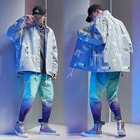 Korean Casual Tracksuit Men Blue Thicken Zipper Loose Spring Jacket Men Long Sleeve Hip Hop Men Sweatsuits Sets Street B60