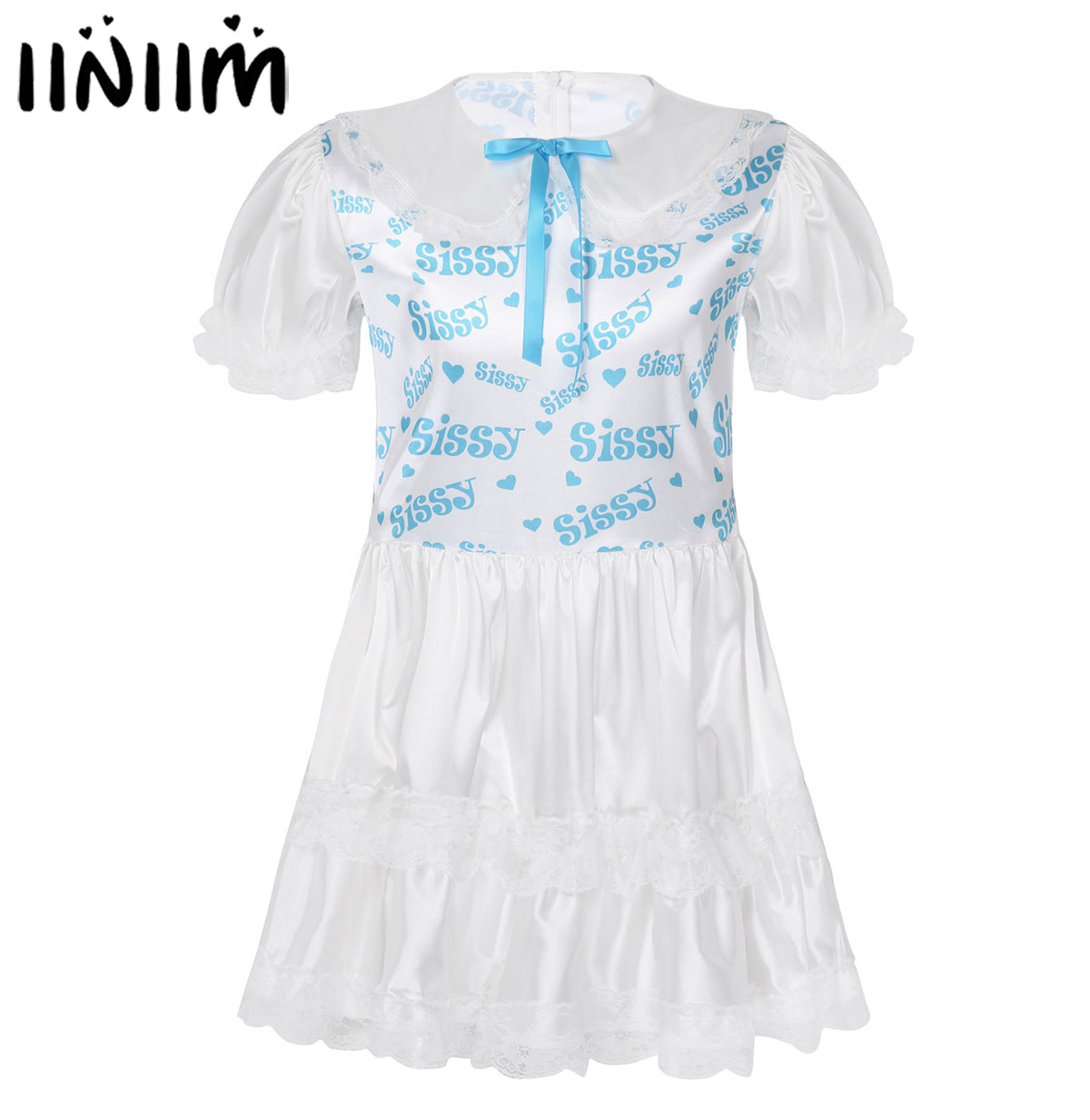 Sissy Mini <font><b>Dresses</b></font> Mens Lace Trimmed Babydoll Pajama <font><b>Adult</b></font> Baby Crossdresser Lingerie Gay Party <font><b>Dress</b></font> <font><b>Sexy</b></font> Costume for Clubwear image