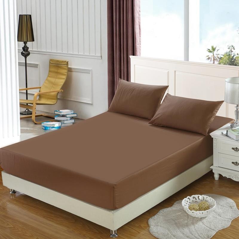 40 1pc lençol 2 pçs travesseiro shams cor sólida ultra macio cabido folha de cama toda redonda elástica azul marinho marrom
