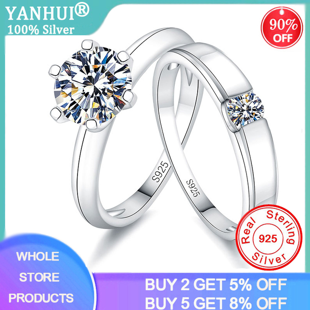90% OFF! With Certificate Couple Women Men Wedding Rings Set Silver 925 Jewelry Solitaire Stone Zirconia Diamond Engagement Ring