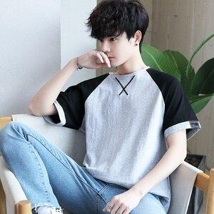 Image 3 - 여름 남성 t 셔츠 짧은 소매 7 남성 ulzzang 조수 느슨한 5 및 절반 슬리브 xueshengchao 브랜드 의류