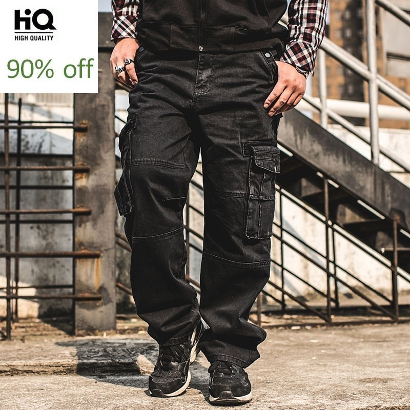 2020 Fashion Casual Plus Size Mens Cargo Jeans With Pocket Baggy Cargo Pants Denim Black Loose Straight Jeans For Men Streetwear