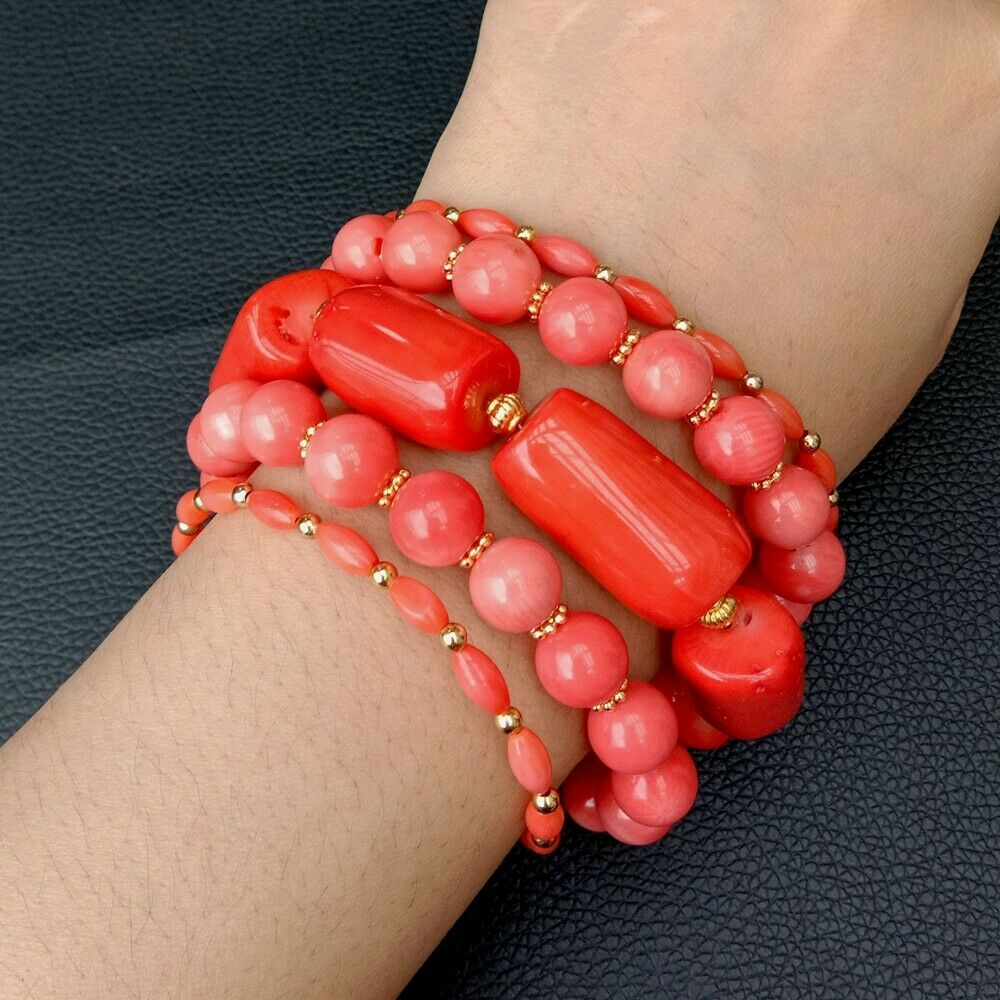 8'' 5 rows Multi Shape Red Coral Bracelet