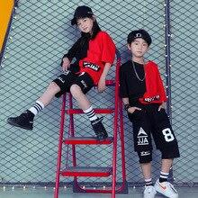 Crianças dança de salão roupas para meninas meninos desempenho mostrar curto t camisa jogger calças jazz criança hip hop dança traje