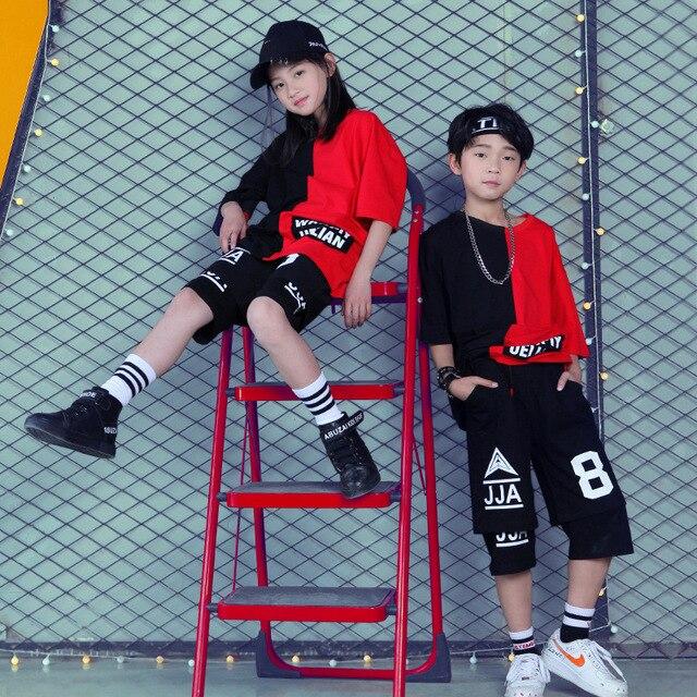 ילדים סלוניים ריקוד בגדים עבור בנות בני ביצועים להראות קצר T חולצה Jogger מכנסיים ג אז ילד היפ הופ ריקוד תלבושות