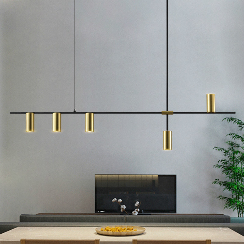 Luxurious Designer Dining Long Chandelier Lights Minimalist Modern Black Lustres Pendentes  Nordic Lamps Dinning Room Lights