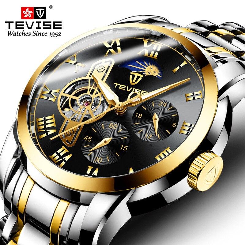 Reloj mecánico automático Tourbillon para hombre, marca superior de Tevise, reloj esqueleto, reloj de pulsera para hombre, reloj de pulsera para hombre, reloj Masculino Guanqin automático Reloj Mecánico Tourbillon Esqueleto reloj de deporte impermeable reloj automático reloj hombre reloj masculino