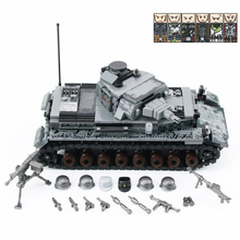 WW2 Military Germany IV Tank Building Blocks WW2 Military Tank Army Soldiers Figures Weapon parts Bricks Toys for Children Gift