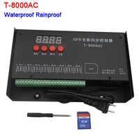 Controlador LED T-8000AC controlador de tarjeta SD para WS2801 WS2811 LPD8806 8192 píxeles controlador impermeable a prueba de lluvia AC110-240V