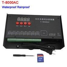 цена на LED controller T-8000AC SD Card Controller for WS2801 WS2811 LPD8806 8192 Pixels waterproof Rainproof controller AC110-240V