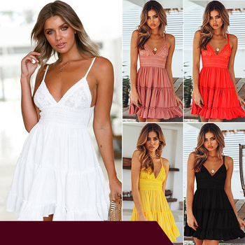 Women Dress Sleeveless Dress Casual Dress LaceUp Dress Backless Dress Short Dress Summer Suspender Dress Party Dress Beach Dress 4001216305740 фото