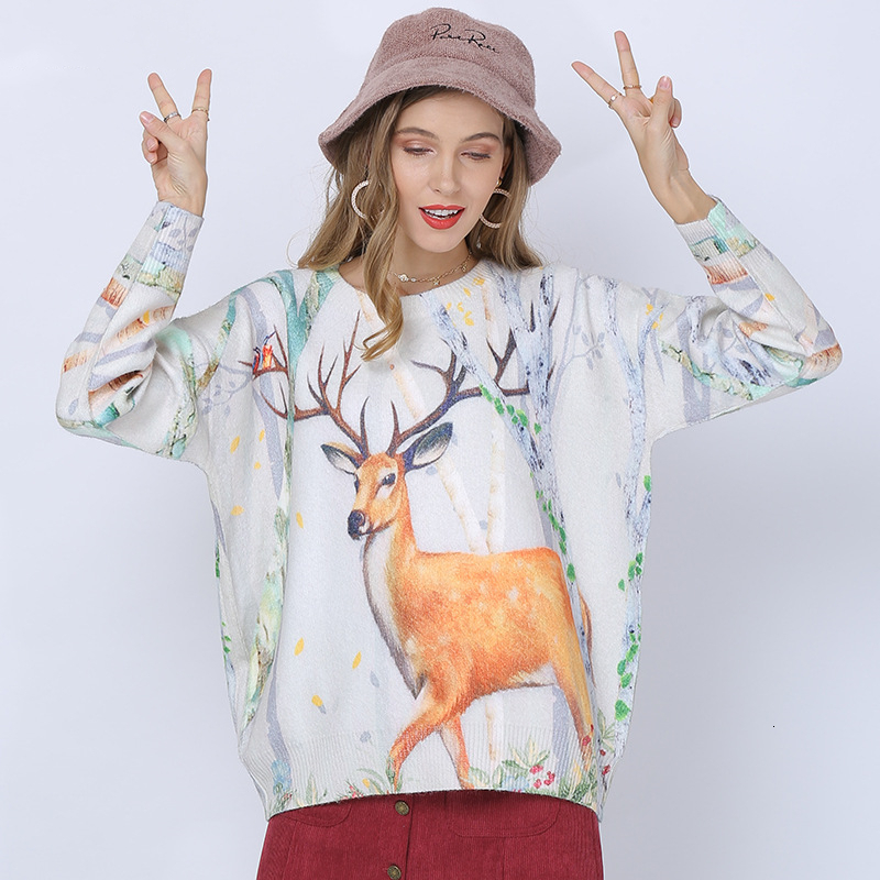 Fashion Milu Pattern Printed Women Sweater 2019 Autumn Winter Loose Knitting Pullovers Ladies Casual Jumper Tops New Ropa Mujer
