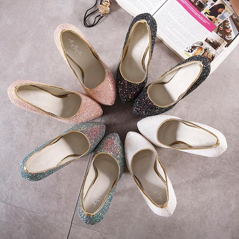 Купить с кэшбэком NIUFUNI 2020 Platform Ultra Stiletto 16cm High Heels Woman Pumps Sexy Bling Pumps Party Dress Wedding Women's Shoes Size 34-45