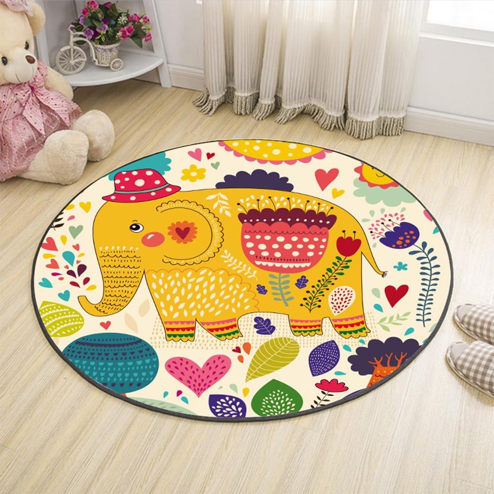 Cartoon Design Round Carpet Bedroom Living Room Balcony Rugs Floor Non-slip Absorbent Mat Children Playmat Home Decor Carpet