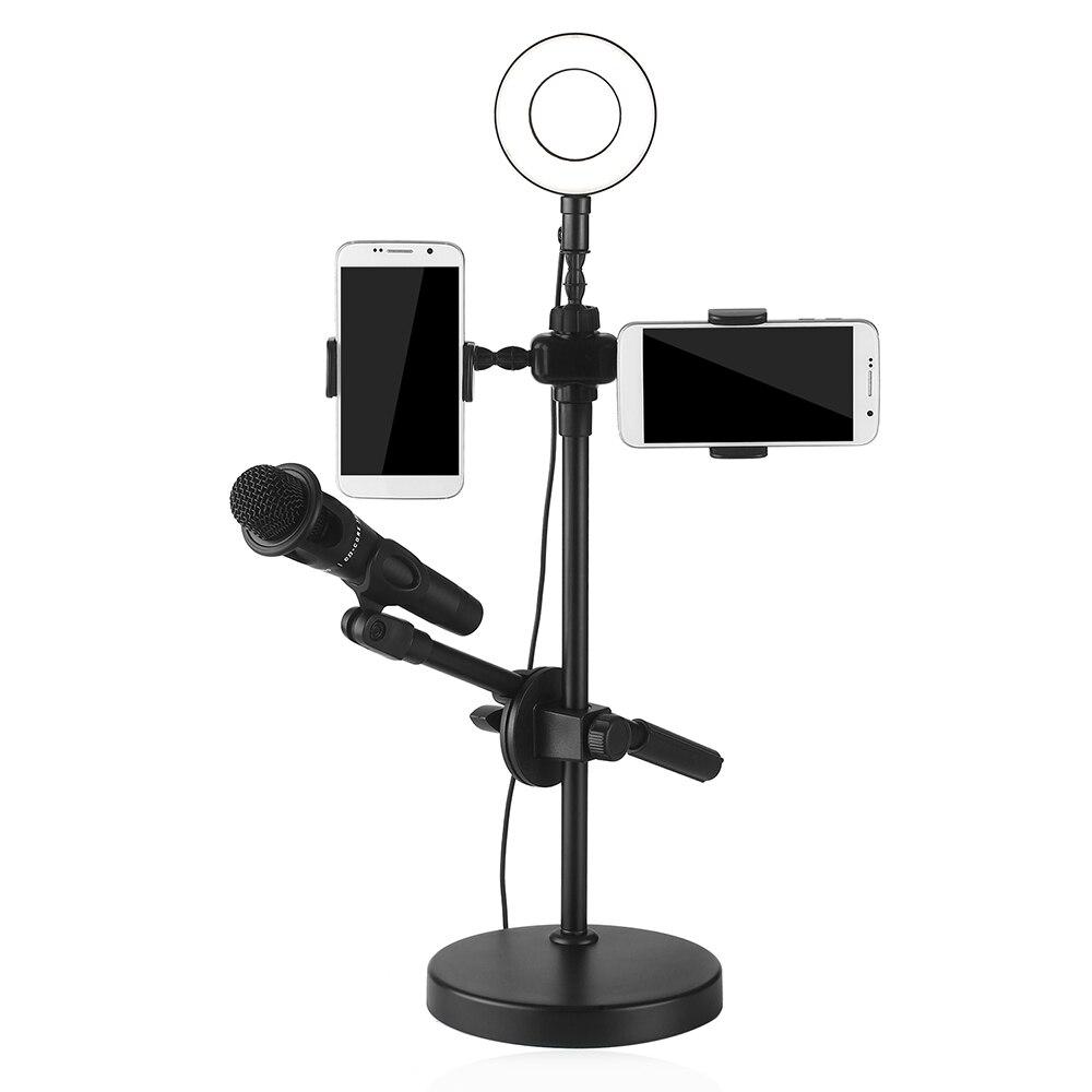9cm Selfie lumière annulaire avec support pour téléphone support de Microphone USB 3 Modes de lumière 9 niveau de luminosité pour youtube vidéo en direct