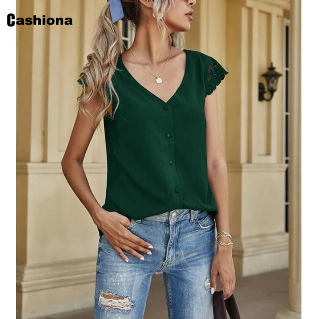 Women Elegant Leisure Chiffon Blouse 2021 Summer New Patchwork Lace Tops Backless V-neck Shirt Feminina Blusas Shirt Ropa Mujer 4