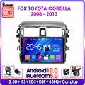 Android10.0 2Din для Защитные чехлы для сидений, сшитые специально для Toyota Corolla E140/150 2006-2013 4G сети Wi-Fi, GPS навигация RDS DSP автомобильный радио мультимед...