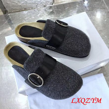 Big Size 34~44 Hot Sale Winter Women/Men Sheep Suede Leather Mule Clogs Slippers Warm Indoor Soft Cork Buckle Slides Footwear(China)