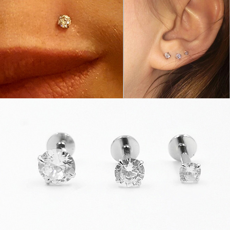 925 Sterling Silver Labret Lip Studs Ring Earlobe Cartilage Tragus Helix Piercing Jewelry Internally Thread 16g 6/8mm