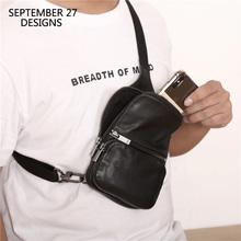 W nowym stylu torba na klatkę piersiową mężczyźni prawdziwej skóry ręcznie Top-end miłośników Casual paczek tanie tanio SEPTEMBER 27 DESIGNS CN (pochodzenie) Flap Stałe Kieszeń na telefon komórkowy zipper SOFT E-137 Na co dzień NONE Solidna torba