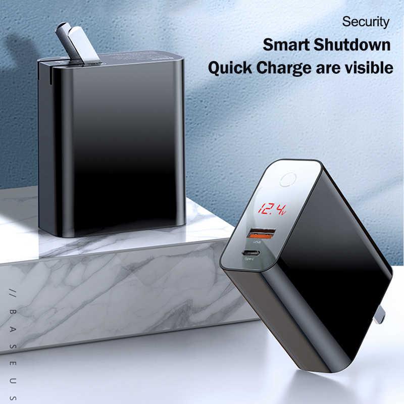 Baseus شحن سريع 4.0 3.0 USB شاحن آيفون 11 برو ماكس سامسونج هواوي SCP QC4.0 QC3.0 QC C PD سريع شاحن الهاتف المحمول