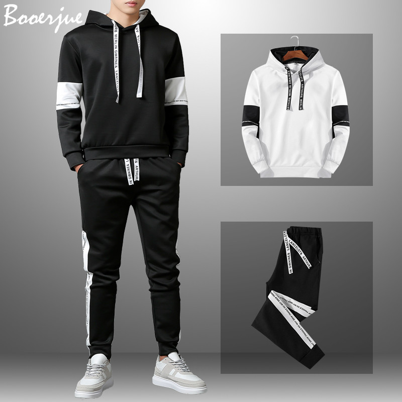 Men's Tracksuit Patchwork Sportswear Autumn Mens Hoodie Set Spring Fashion Letter Printed Sweatsuit Male New Trainingspak Mannen