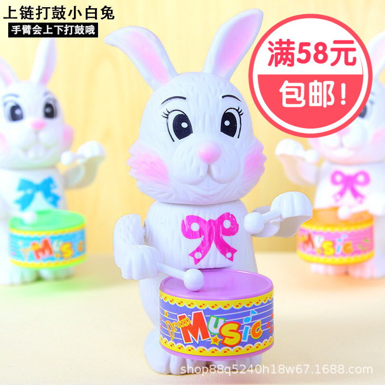 Hot Selling Children'S Educational Toy Winding Wind-up Toy Drum Bunny Children Holiday Gift Stall Toy