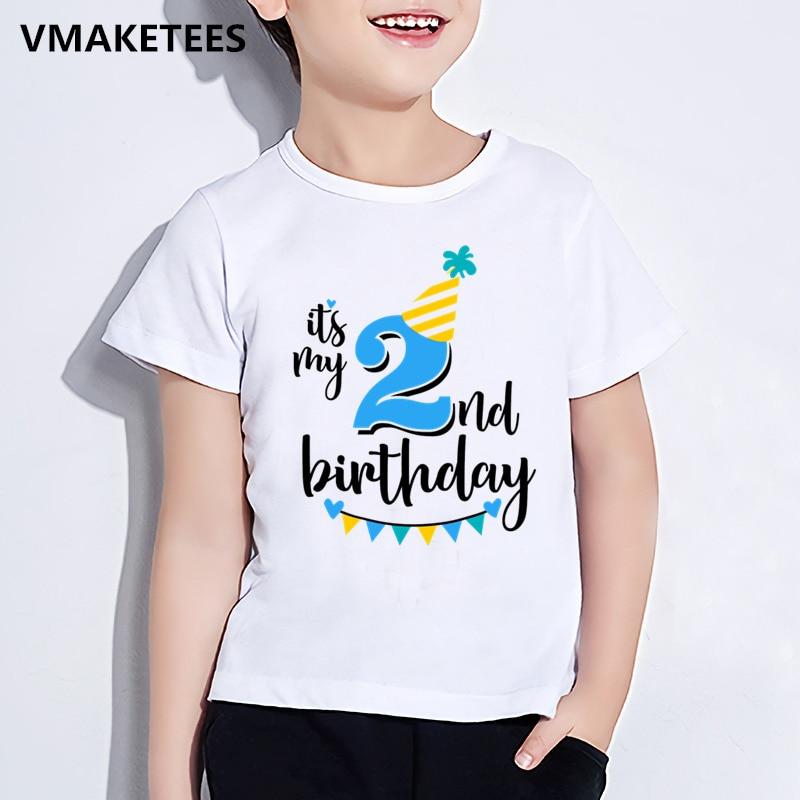 Детская футболка с надписью «Happy Birthday Number 1-9», забавная футболка для девочек и мальчиков с цифрой в подарок на день рождения, забавная одежда ...