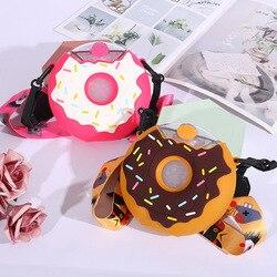 Портативная силиконовая соломенная кружка для детей, 380 мл, креативные пластиковые бутылки для напитков в виде мультяшного пончика, Taza para ...