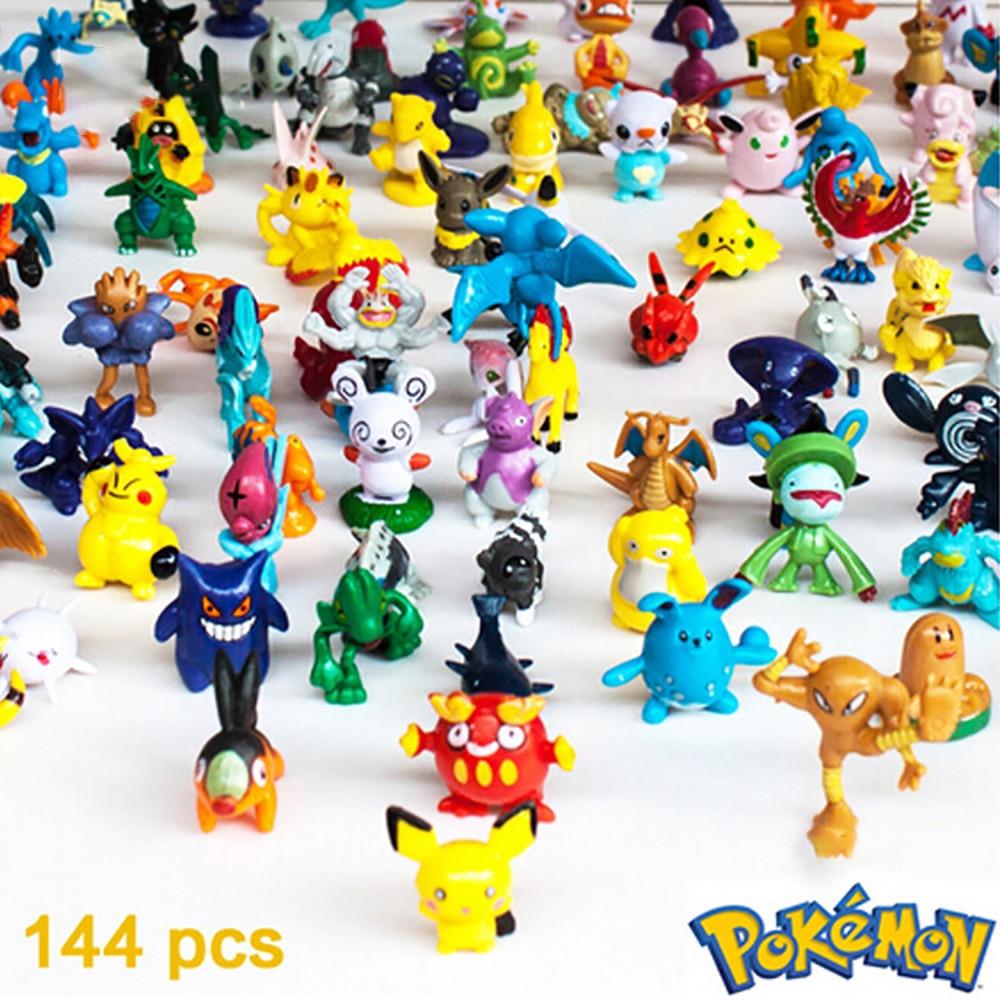 Pokemon figuras boneca modelo coleção 2-3cm 144 pçs diferentes estilos pokemon anime figura brinquedos crianças presentes de natal dia das bruxas