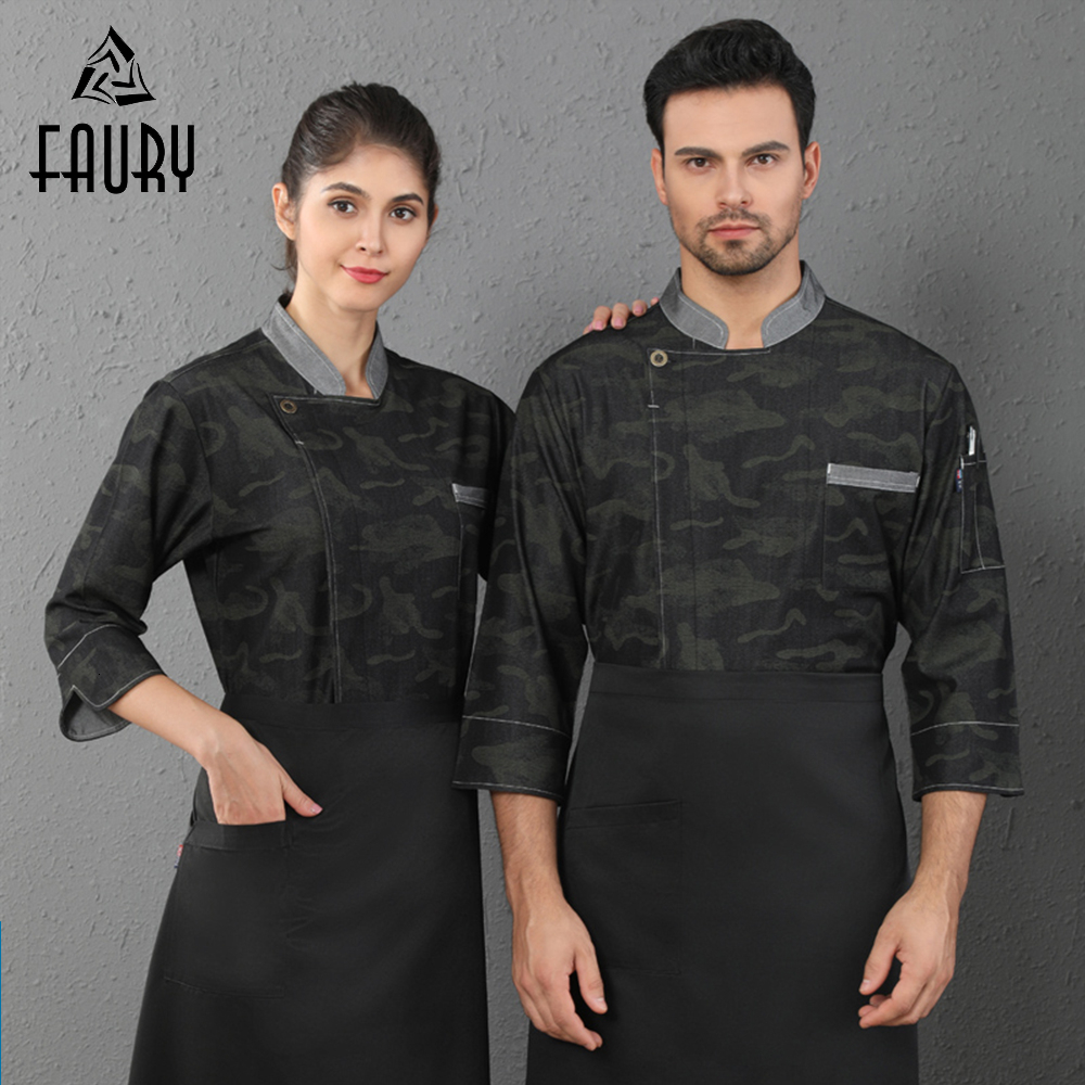 New Fahion Camouflage Chef Uniform Unisex Long Sleeve Kitchen Cook Overalls Cafe Bakery Barber Shop Waiter Unisex Work Clothes