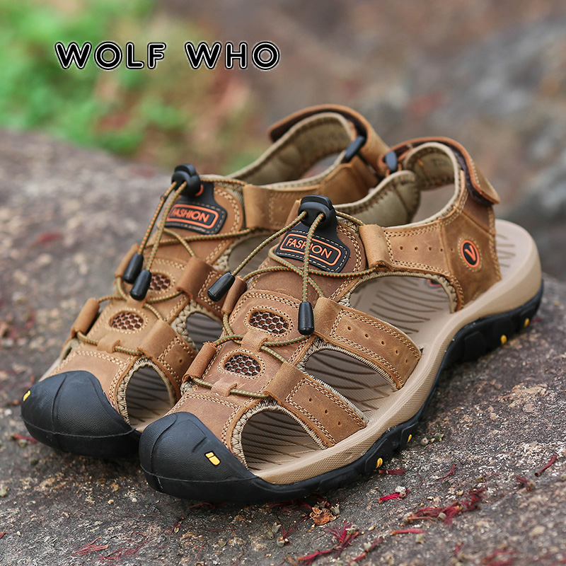 WOLF WHO Classic Men Soft Sandals Comfortable Man 2019 New Summer Casual Beach Shoes Leather Sandals Big Size Sandals Male A-011