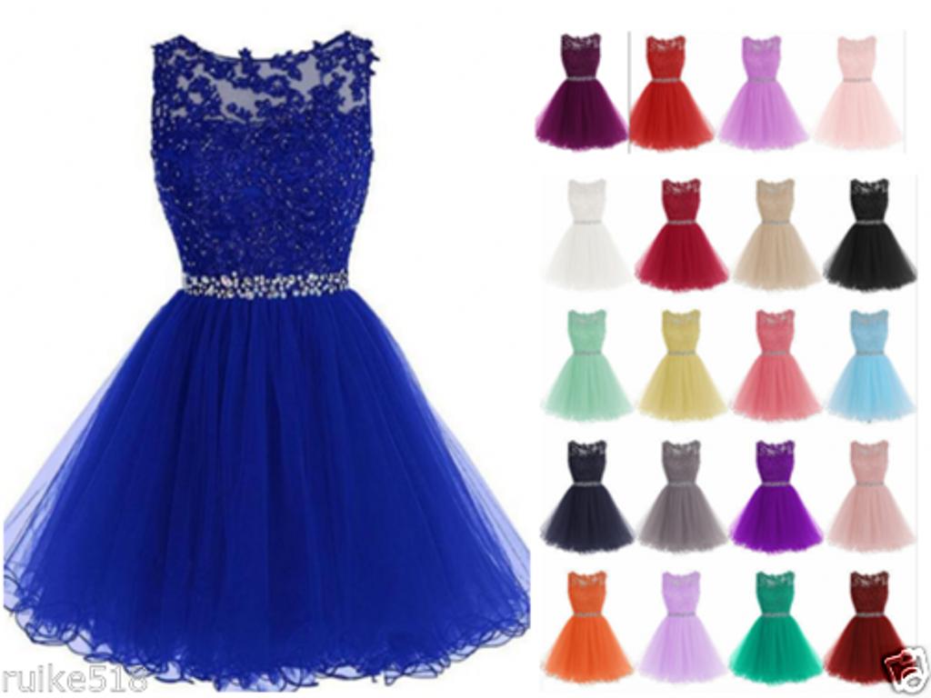 2020 Short Mini Lace Beading Tull Knee Length Ball Gown Bridesmaid Dresses