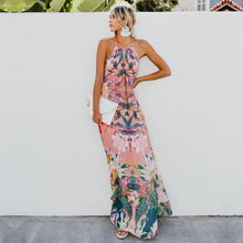 ZOGAA Boho Floral Printed Summer Long Dress Women Elegant Halter Backless Sexy Dresses Woman Draped Holiday Loose Beach