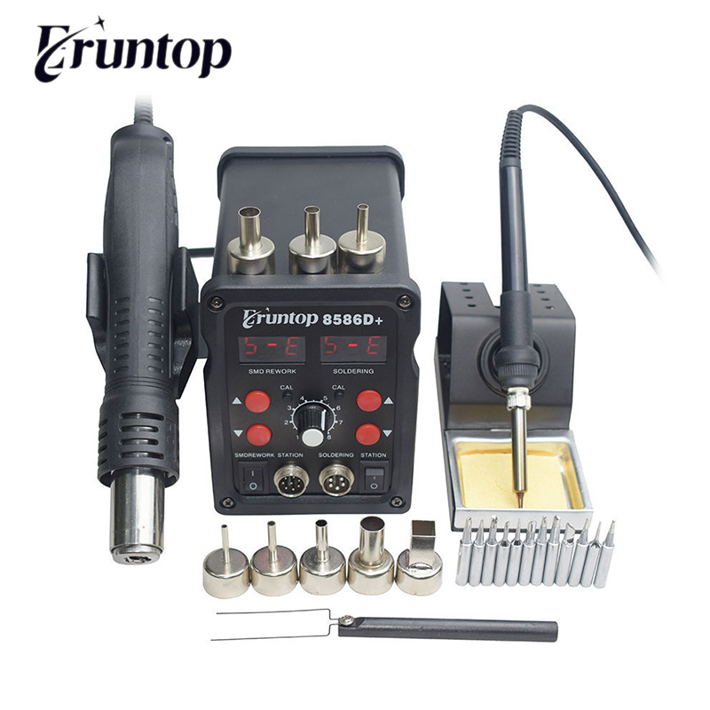 Eruntop 8586D   8786D Digital Display 2in1 Electric Soldering Irons  Hot Air Gun Better SMD Rework Station Upgraded 8586 8586D