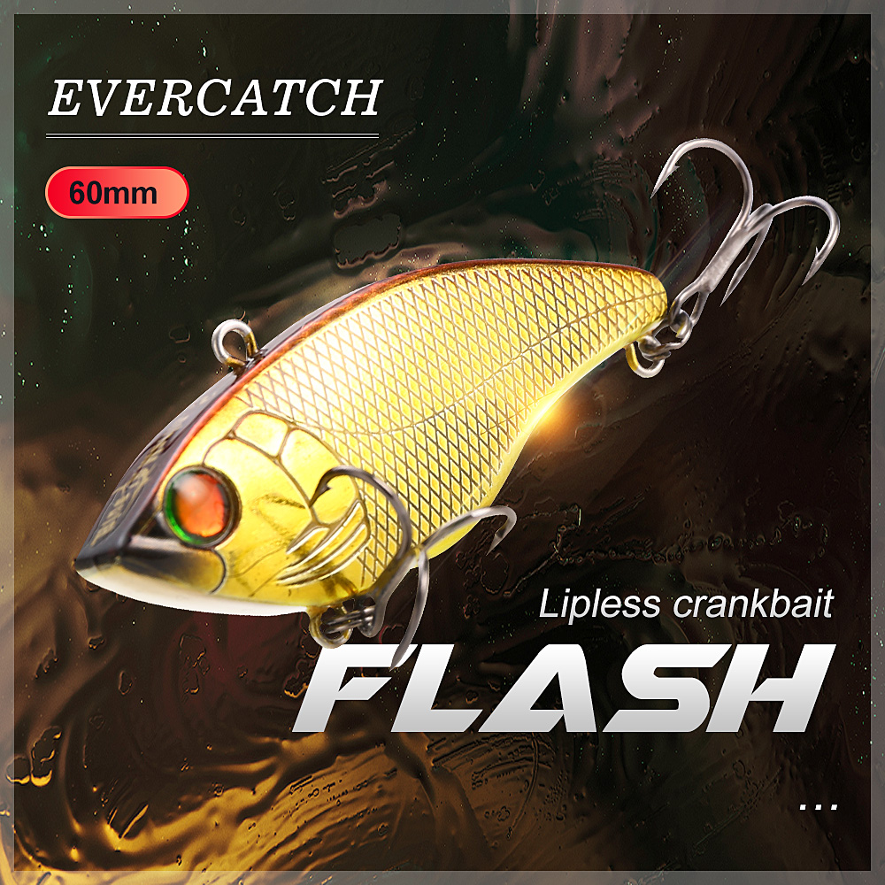 Evercatch Flash 60mm/16g Sinking Lipless Crankbait Vibrating Hard Bait Rattlin Chatter Fishing Lure For Bass Perch Pike Catfish