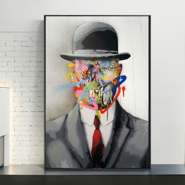 Abstract Street Art Graffiti Magritte Painting Printed on Canvas 1