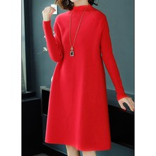 Women Solid Thick Knitwear  Pullover Sweater Dresses O-Neck Autum Winter Long Sleeve Knitted Dress Loose Knee Length Dress цены
