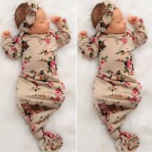Sac de couchage en coton pour nouveau-né garçon et fille, 2 pièces, imprimé Floral, couverture enveloppante chaude, sac d'emmaillotage