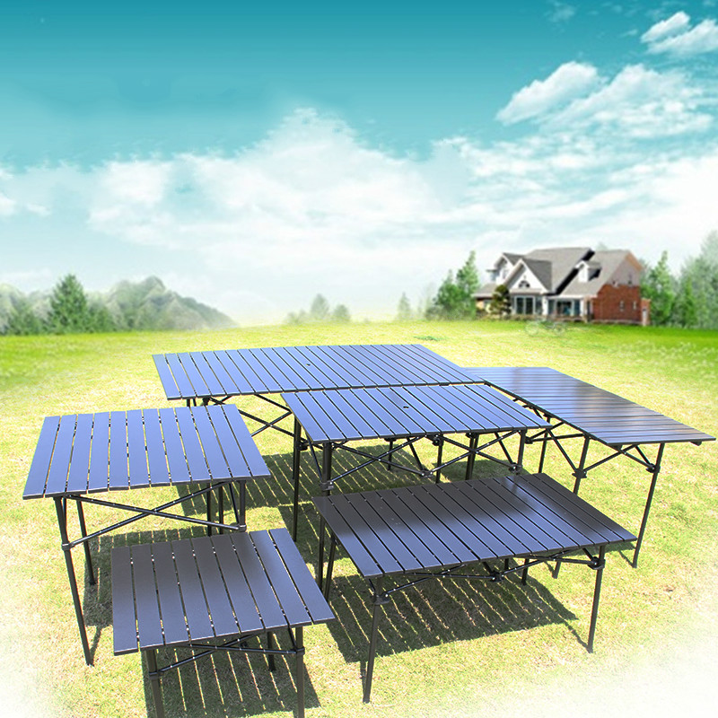 Outdoor Portable Table Multi Purpose Aluminum Folding Table Camping Barbecue Beach Picnic Tables Stall Display Table