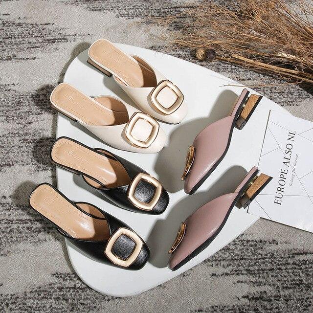 مغلق تو البغال النساء جلد طبيعي منخفضة الكعب النعال مشبك معدني غير رسمي الانزلاق على الشرائح الضحلة المتسكعون أحذية كبيرة الحجم