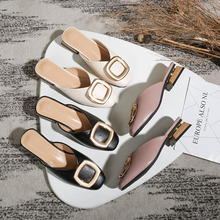 Closed Toe Mules Women Genuine Leather Low Heels Slippers Casual Metal Buckle Slip on Slides Shallow Loafers Big Size Shoes