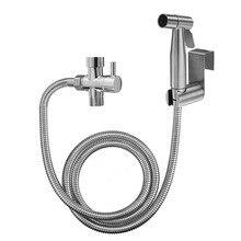 Handheld Toilet Bidet Sprayer Set Kit Adjustable Water Pressure Leak-proof Hose with T-valve Faucet  Adapter for Bathroom