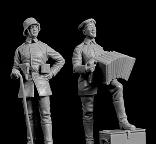 1/35 Ancient Officer Singing Include 2  Resin Figure Model Kits Miniature Gk Unassembly Unpainted