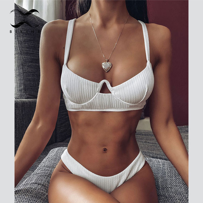 Hollow Out Swimsuit Female 2020 Push Up Swimwear Women Ribbed Bathing Suit High Cut Beach Two Piece Suits Solid Sexy Biquini New