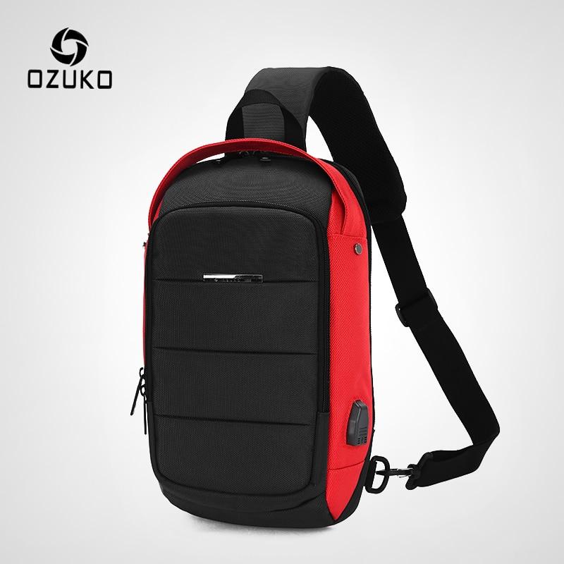 OZUKO Casual Men's Chest Pack Waterproof Crossbody Bags Male USB Charging Shoulder Bag Large Capacity Oxford Messenger Bag 2019