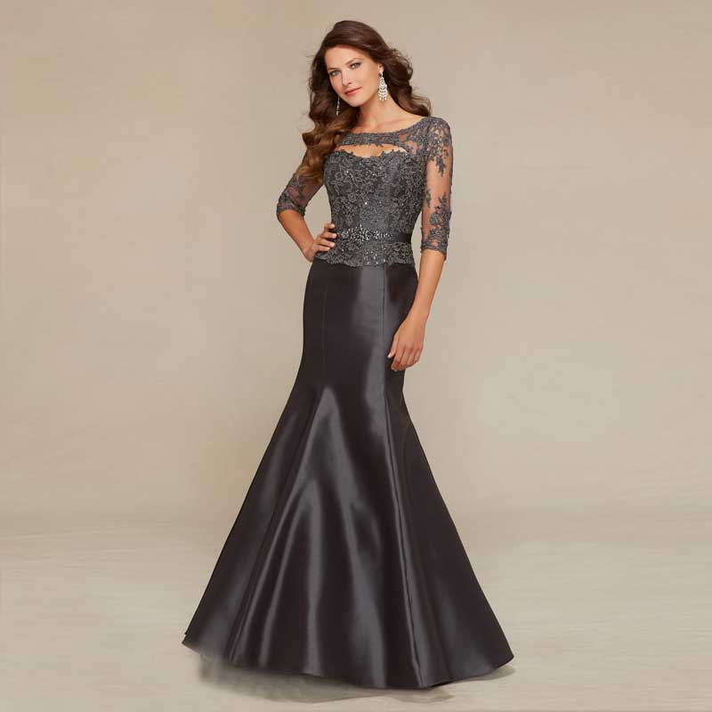 Amazing Mermaid Scoop Neck 3/4 Sleeve Beading Lace Satin Dark Gray Long Mother Of The Bride Dresses Elegant Gown
