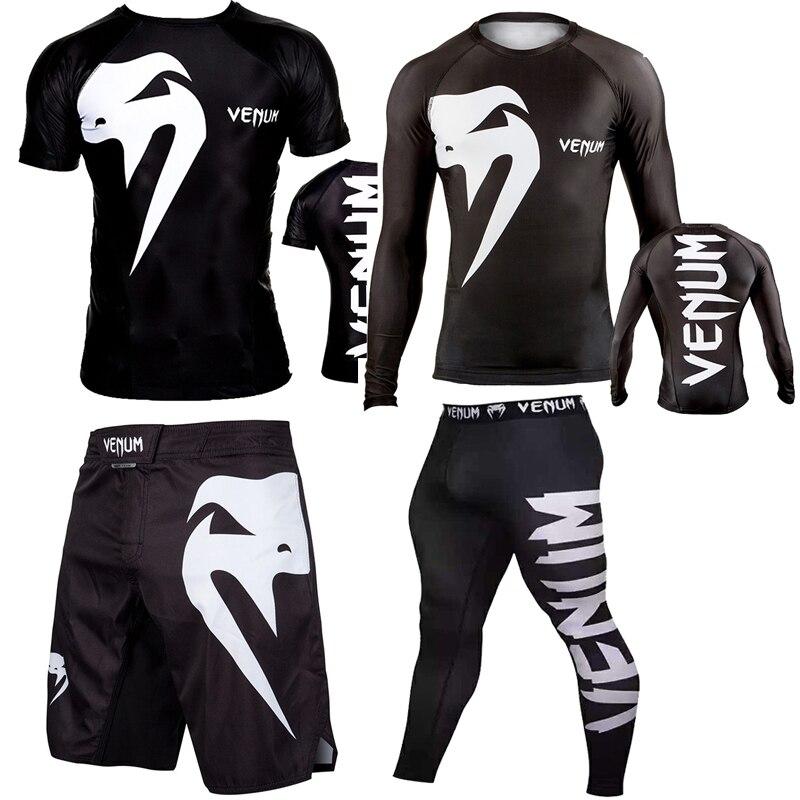 T Shirt Sportwear Suit  Mens MMA TRUNKS Sublimated Print Bjj Boxing Rashguard Jiu Jitsu Gi Rash Guard Breathable Muay Free Ship