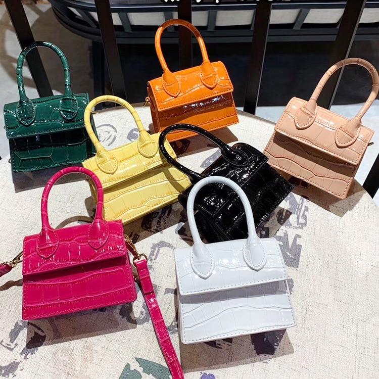 Square Bag Chain Messenger-Bags Women's Handbag Crocodile-Pattern Shoulder Mini Small